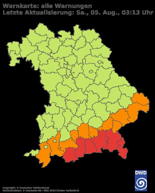 Aktuelle Wetterwarnungen für Traunstein